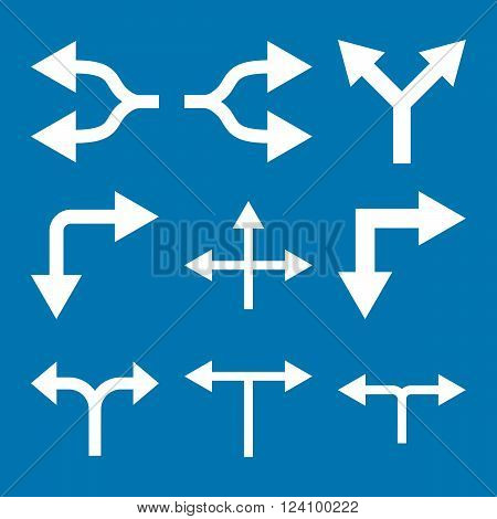 Junction Arrows vector icon set. Collection style is white flat symbols on a blue background. Junction Arrows icons.