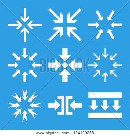 Minimize Arrows vector icon set. Collection style is white flat symbols on a blue background. Minimize Arrows icons.