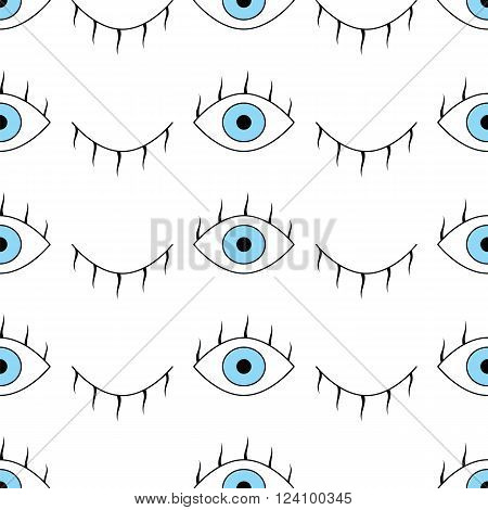 Abstract Pattern With Open And Winking Eyes
