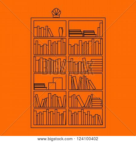 Bookshelf with books in vector. Bookshelf in a flat style with long shadow. Illustration of modern shelves for books. Wall bookshelf with a stack of books. Wooden bookshelf outline with books in the series.