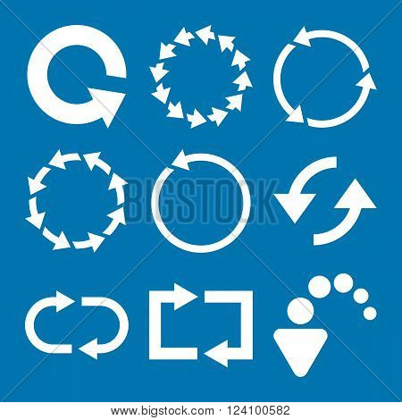 Rotate Arrows vector icon set. Collection style is white flat symbols on a blue background. Rotate Arrows icons.