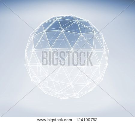 3D Spherical Object With Lattice Wire-frame Mesh