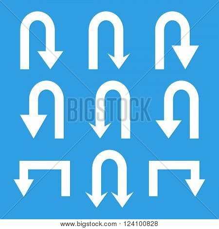 Turn Back Arrows vector icon set. Collection style is white flat symbols on a blue background. Turn Back Arrows icons.