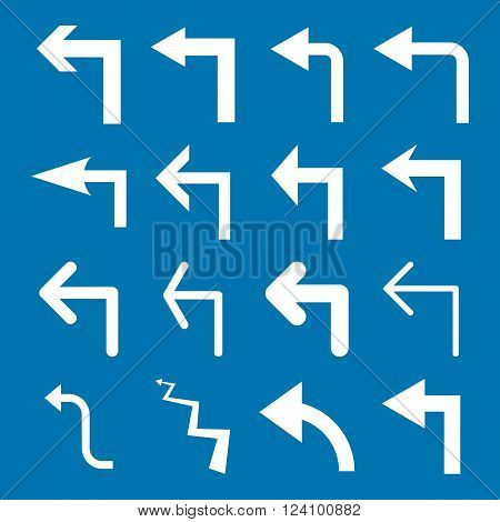 Turn Left vector icon set. Collection style is white flat symbols on a blue background. Turn Left icons.