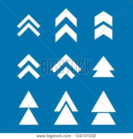 Up Direction vector icon set. Collection style is white flat symbols on a blue background. Up Direction icons.