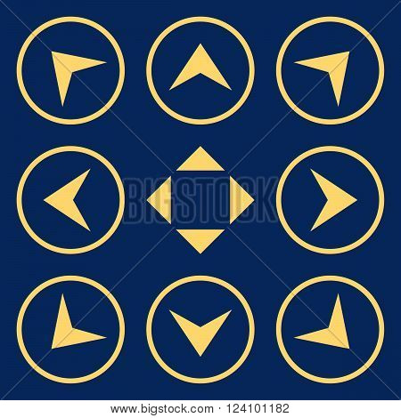 Circled Arrowheads vector icon set. Collection style is yellow flat symbols on a blue background. Circled Arrowheads icons.