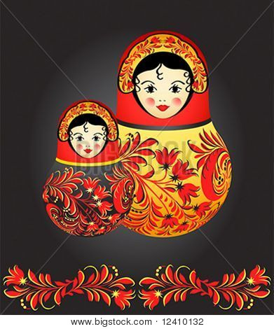Matryoshka dolls with traditional Russian floral pattern over black
