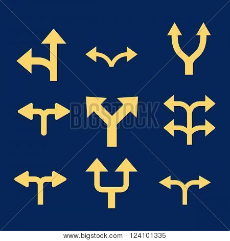 Divide Arrows vector icon set. Collection style is yellow flat symbols on a blue background. Divide Arrows icons.