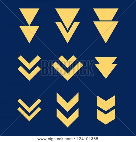 Down Direction vector icon set. Collection style is yellow flat symbols on a blue background. Down Direction icons.
