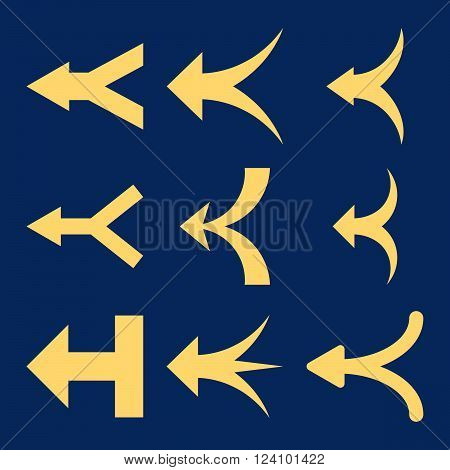 Join Arrows Left vector icon set. Collection style is yellow flat symbols on a blue background. Join Arrows Left icons.