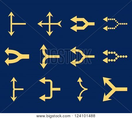 Junction Arrows Left vector icon set. Collection style is yellow flat symbols on a blue background. Junction Arrows Left icons.