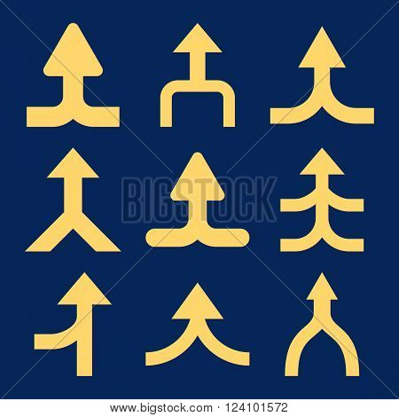 Merge Arrows Up vector icon set. Collection style is yellow flat symbols on a blue background. Merge Arrows Up icons.