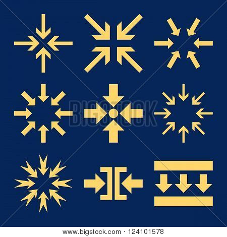 Minimize Arrows vector icon set. Collection style is yellow flat symbols on a blue background. Minimize Arrows icons.