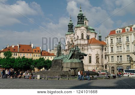 PRAGUE CZECH REPUBLIC - May 8 2012: Old Town Square with Jan Hus Monument Prague Czech Republic.