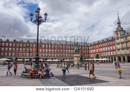 MADRID SPAIN - JULY 4: Statue of Philip III at Mayor plaza in Madrid in a beautiful summer day.
