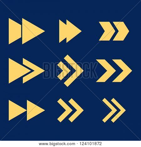 Right Direction vector icon set. Collection style is yellow flat symbols on a blue background. Right Direction icons.