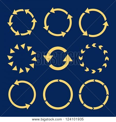 Rotation Direction vector icon set. Collection style is yellow flat symbols on a blue background. Rotation Direction icons.