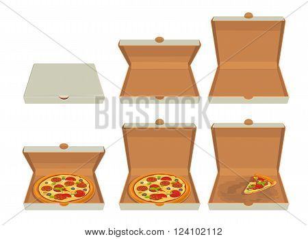 Whole pizza and slices of pizza in closed and open white box. Isolated vector flat illustration for poster menus logotype brochure web and icon