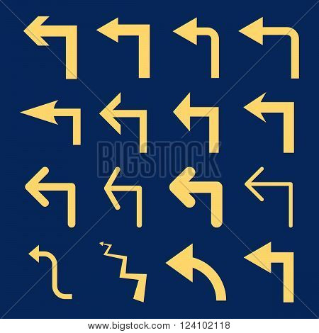 Turn Left vector icon set. Collection style is yellow flat symbols on a blue background. Turn Left icons.