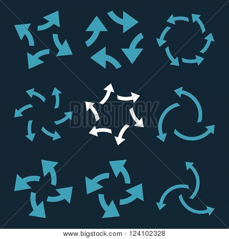 Centrifugal Arrows vector icon set. Collection style is bicolor blue and white flat symbols on a dark blue background. Centrifugal Arrows icons.