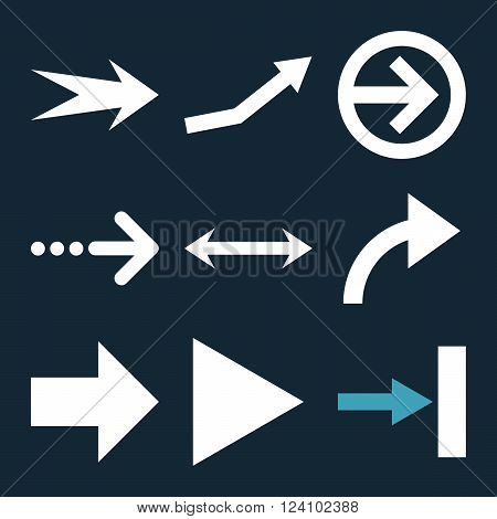 Direction Arrows vector icon set. Collection style is bicolor blue and white flat symbols on a dark blue background. Direction Arrows icons.