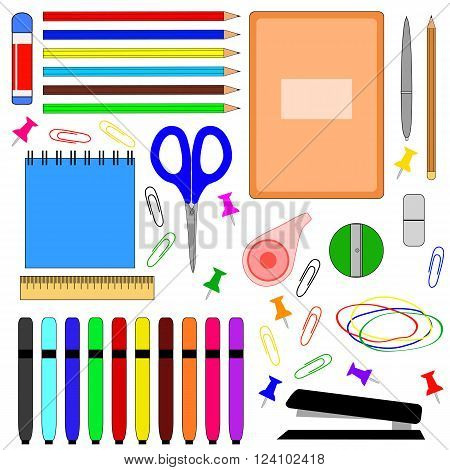 School supplies, vector illustration. School supplies for lessons.