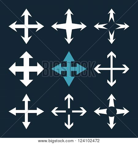 Expand Arrows vector icon set. Collection style is bicolor blue and white flat symbols on a dark blue background. Expand Arrows icons.