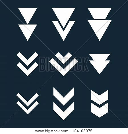 Down Direction vector icon set. Collection style is white flat symbols on a dark blue background. Down Direction icons.