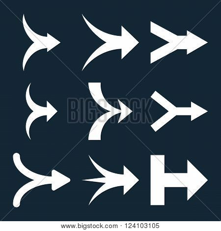 Join Arrows Right vector icon set. Collection style is white flat symbols on a dark blue background. Join Arrows Right icons.
