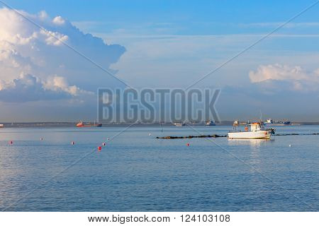 Mediterranean coast in Limassol with vessels and blue sky Cyprus