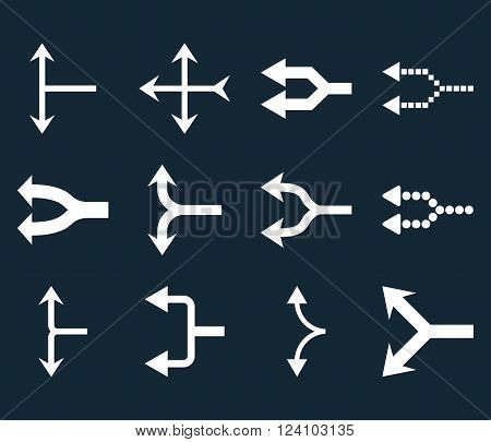 Junction Arrows Left vector icon set. Collection style is white flat symbols on a dark blue background. Junction Arrows Left icons.
