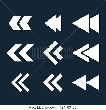 Left Direction vector icon set. Collection style is white flat symbols on a dark blue background. Left Direction icons.
