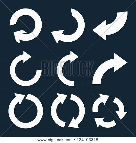 Rotate Clockwise vector icon set. Collection style is white flat symbols on a dark blue background. Rotate Clockwise icons.