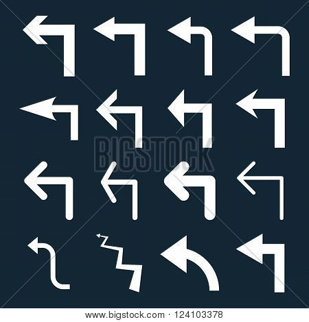 Turn Left vector icon set. Collection style is white flat symbols on a dark blue background. Turn Left icons.