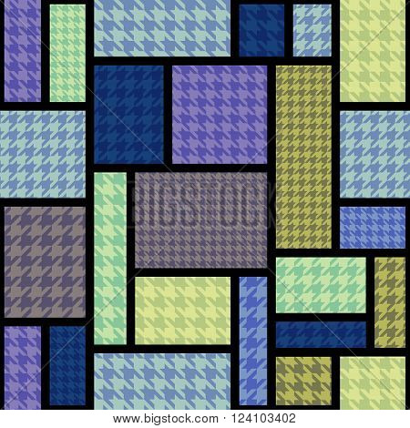 Seamless background pattern. Geometric pattern from hounds-tooth pattern in a patchwork style.