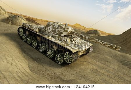 3D rendered tank in camouflage moving at the desert among the sands