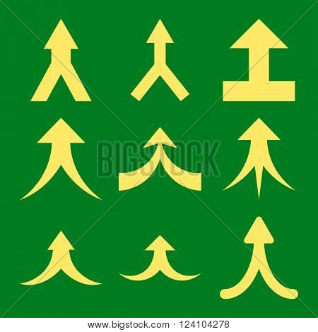 Join Arrows Up vector icon set. Collection style is yellow flat symbols on a green background. Join Arrows Up icons.