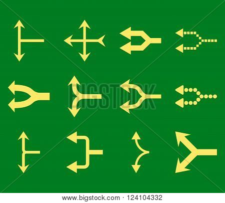 Junction Arrows Left vector icon set. Collection style is yellow flat symbols on a green background. Junction Arrows Left icons.