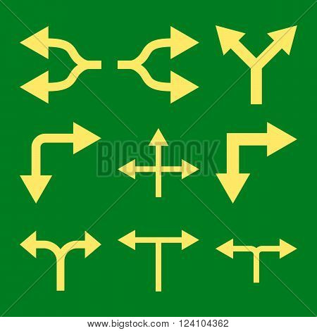 Junction Arrows vector icon set. Collection style is yellow flat symbols on a green background. Junction Arrows icons.