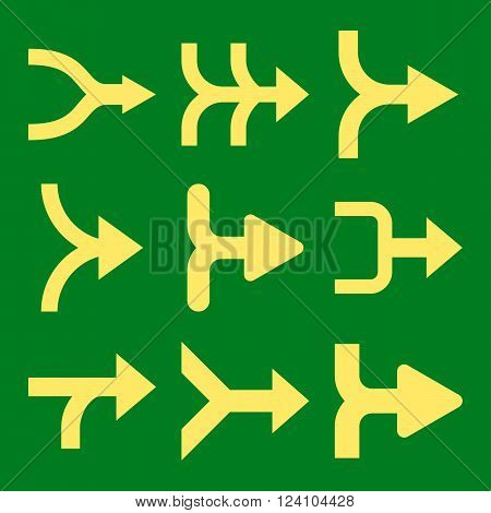 Merge Arrows Right vector icon set. Collection style is yellow flat symbols on a green background. Merge Arrows Right icons.