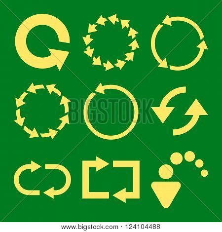 Rotate Arrows vector icon set. Collection style is yellow flat symbols on a green background. Rotate Arrows icons.