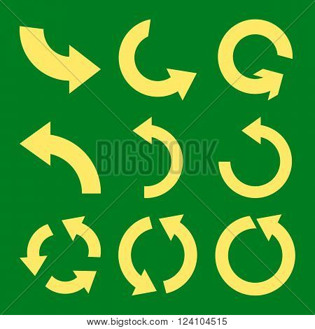 Rotate Counterclockwise vector icon set. Collection style is yellow flat symbols on a green background. Rotate Counterclockwise icons.