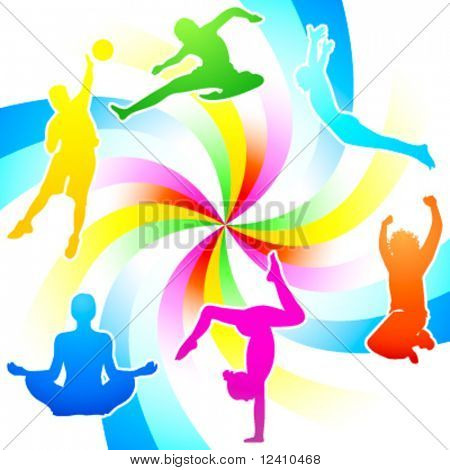 Rainbow colored fitness activity people silhouettes