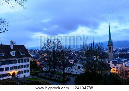 Zurich Switzerland - March 26 2016: Zurich cityscape with Fraumunster Church at dawn