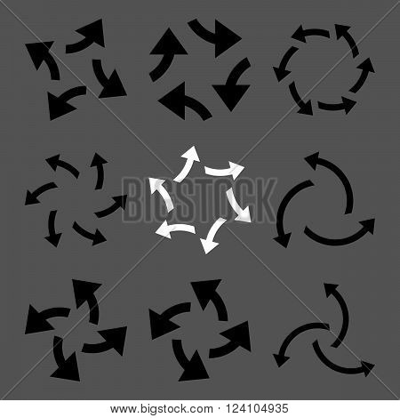 Centrifugal Arrows vector icon set. Collection style is bicolor black and white flat symbols on a gray background. Centrifugal Arrows icons.