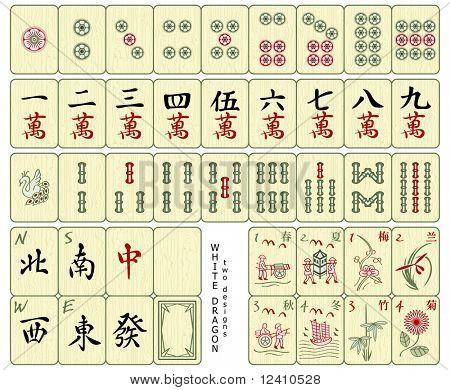Custom-designed Mahjong whole set over the wood pattern isolated.