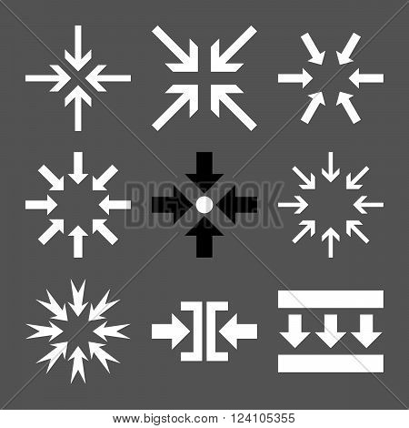 Minimize Arrows vector icon set. Collection style is bicolor black and white flat symbols on a gray background. Minimize Arrows icons.