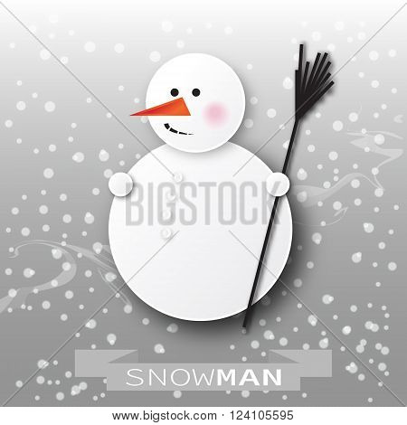 Greeting card with snowman and snowfall. Paper cut style. Enjoying Snow.