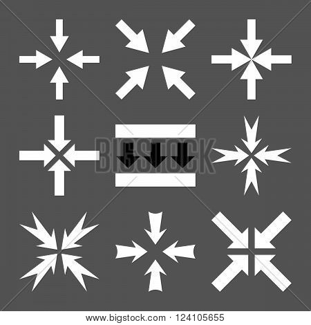 Pressure Arrows vector icon set. Collection style is bicolor black and white flat symbols on a gray background. Pressure Arrows icons.