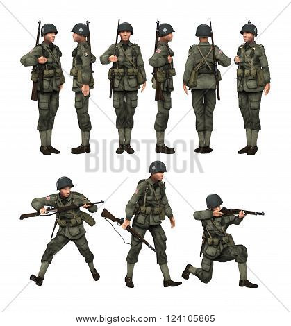 3D render of a US soldier paratrooper with his rifle in different poses on white background.